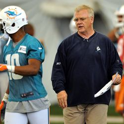 Jun 11, 2013; Davie, FL, USA; Miami Dolphins offensive coordinator Mike Sherman (right) talks with wide receiver Brandon Gibson (right) during practice drills at the Doctors Hospital Training Facility at Nova Southeastern University.