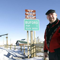 """""""Mayor"""" Don Sammons is no longer Buford's only resident. The town was formed as the Transcontinental Railroad was built in the 1860s."""