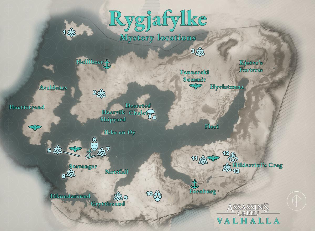 Rygjafylke Mysteries locations map