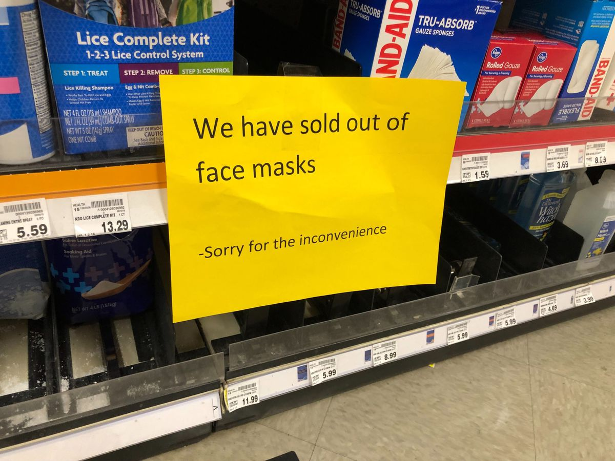A Kroger grocery store on Summer Avenue in Memphis ran out of face masks by Sunday.