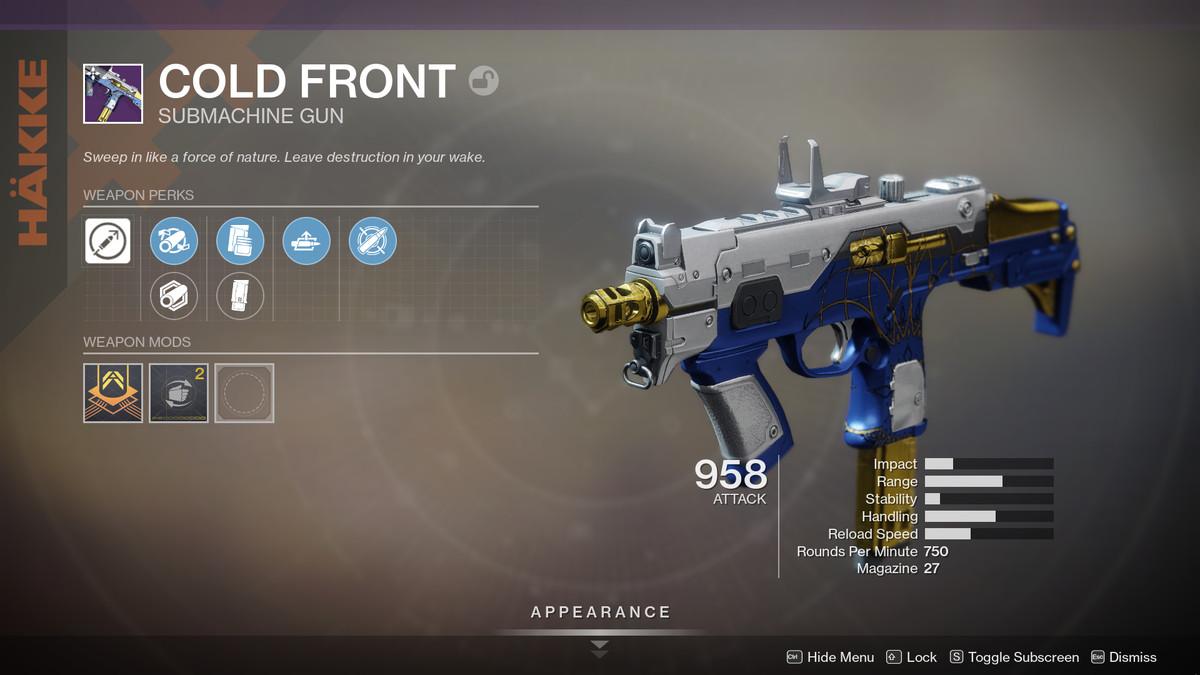 Cold Front Dawning gun Destiny 2