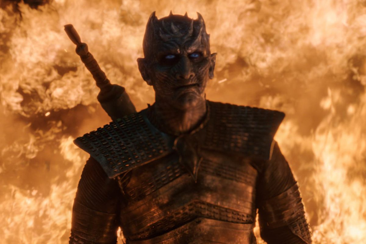 The Night King surrounded by dragonfire —Game of Thrones season 8, episode 3