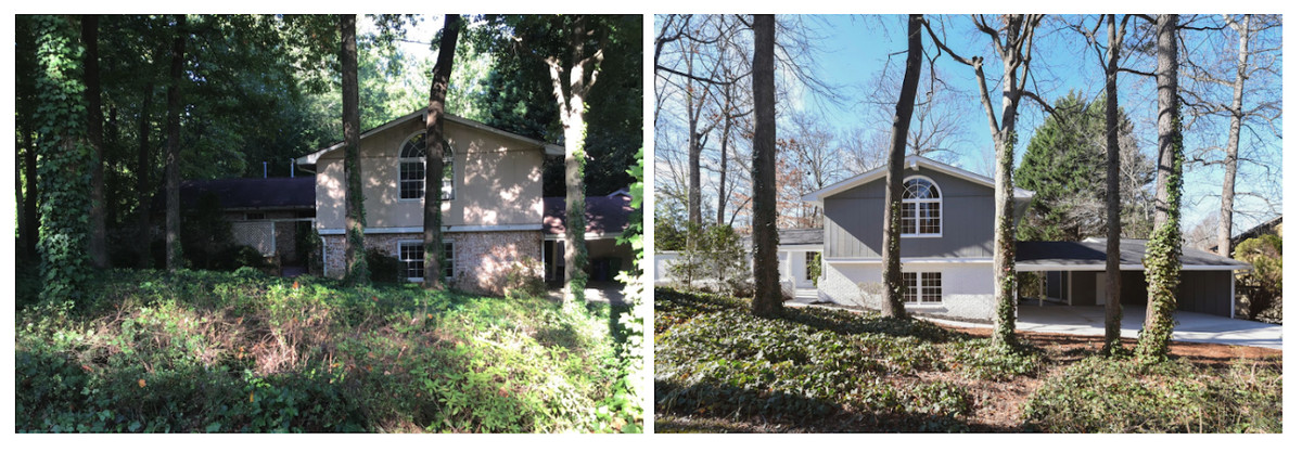 A before/after photo of a split-level house with many trees in front of it.