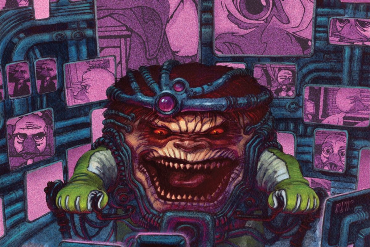 MODOK, or M.O.D.O.K, the Marvel Comics character, on the cover of Howard the Duck #2 (2008).