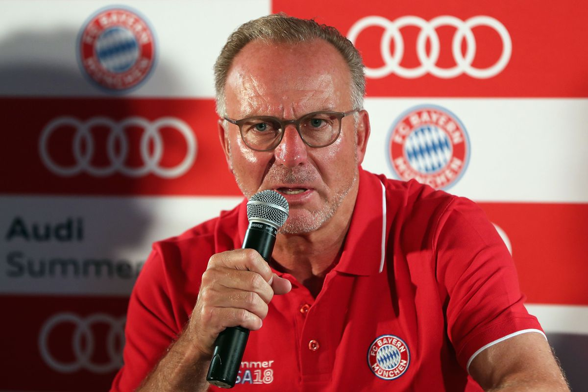 FC Bayern AUDI Summer Tour 2018 - Day 7 MIAMI, FL - JULY 29: Karl-Heinz Rummenigge, CEO of FC Bayern Muenchen, addresses a news conference during the last day of the FC Bayern AUDI Summer Tour on July 29, 2018 at Mandarin Oriental hotel in Miami, Florida