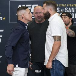 Diego Sanchez and Michael Chiesa face off at UFC 239 media day in Los Angeles