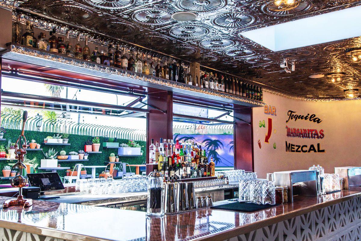 The bar area at Roadside Taco