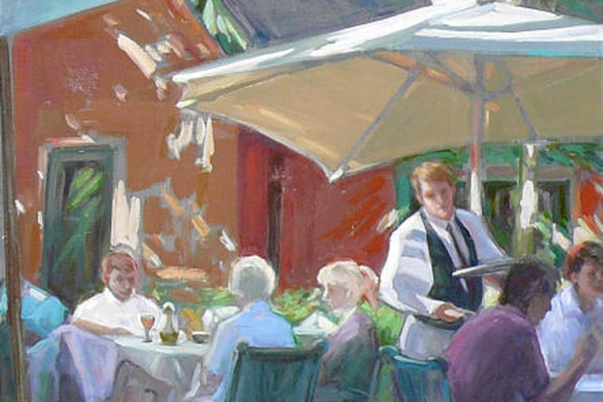 """""""Brunch on the Patio at Tuscany Restaurant,"""" by Karen Horne at Horne Fine Art, located at 142 E. 800 South."""