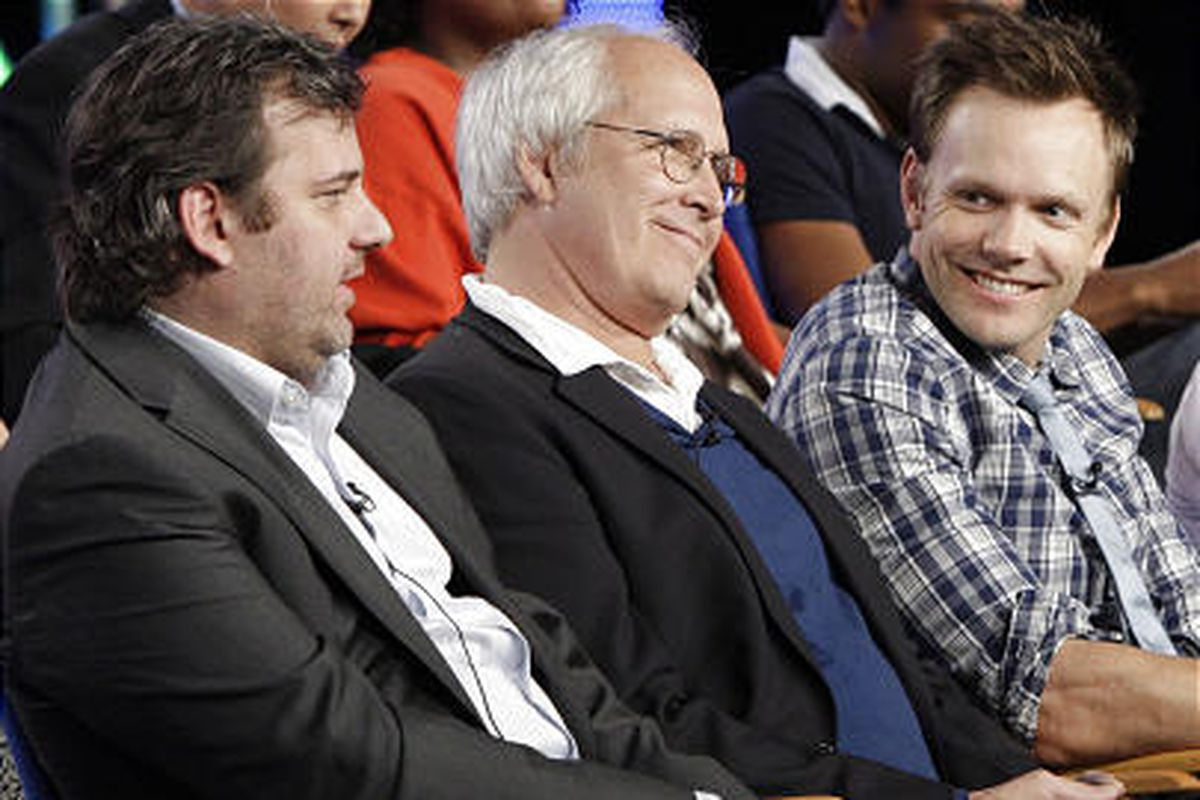 """""""Community"""" creator/executive producer Dan Harmon, left, with cast members Chevy Chase and Joel McHale."""