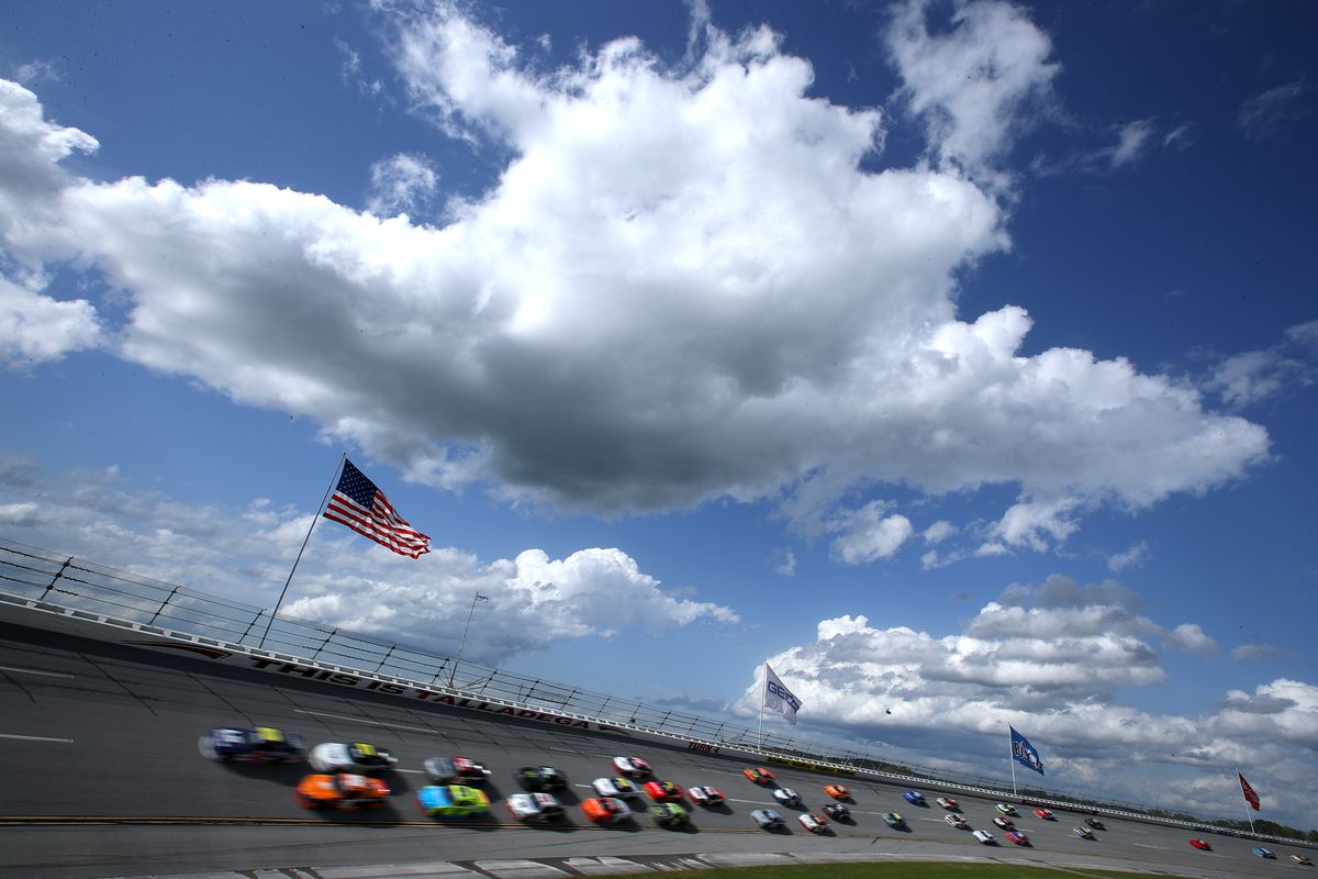 A general view of cars on track during the NASCAR Xfinity Series Ag-Pro 300 at Talladega Superspeedway on April 24, 2021 in Talladega, Alabama.
