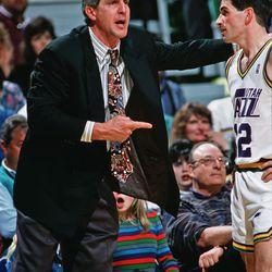 Utah Jazz coach Jerry Sloan talks with John Stockton in November 1988 in Salt Lake City.