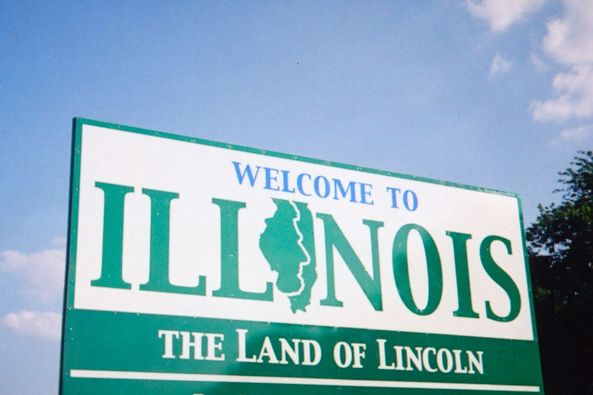 A welcome sign on the Illinois side of the Iowa border in 2007. File Photo.