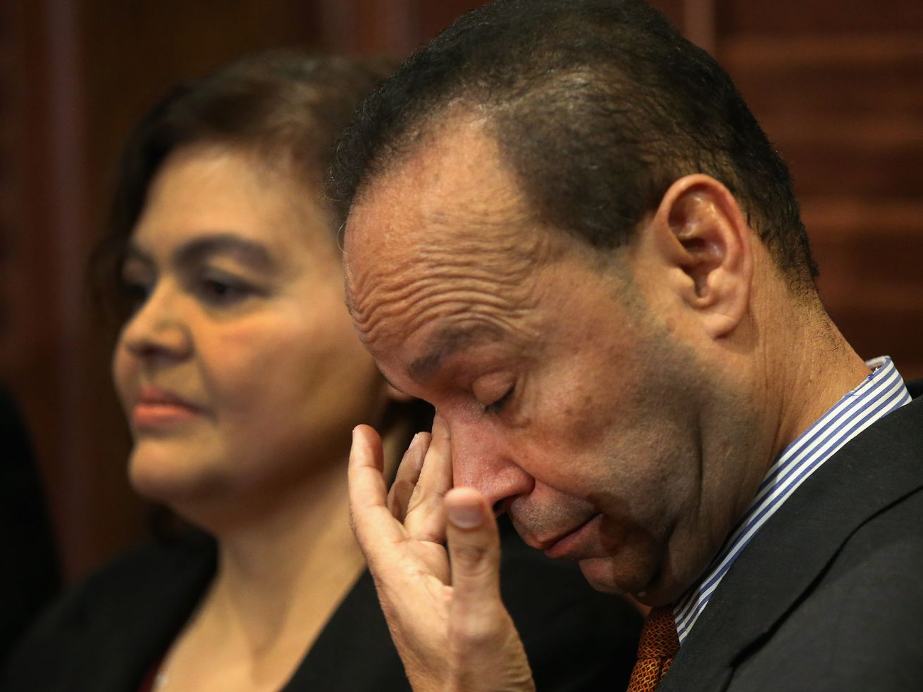 CHICAGO, IL - NOVEMBER 28: U.S. Representative Luis Gutiérrez (D-IL) wipes away a tear as he announces he will retire from congress at the end of his current term during a press conference on November 28, 2017 in Chicago, Illinois. Gutierrez has represented Illinois' 4th congressional district since 1993. (Photo by Scott Olson/Getty Images) ORG XMIT: 775084372