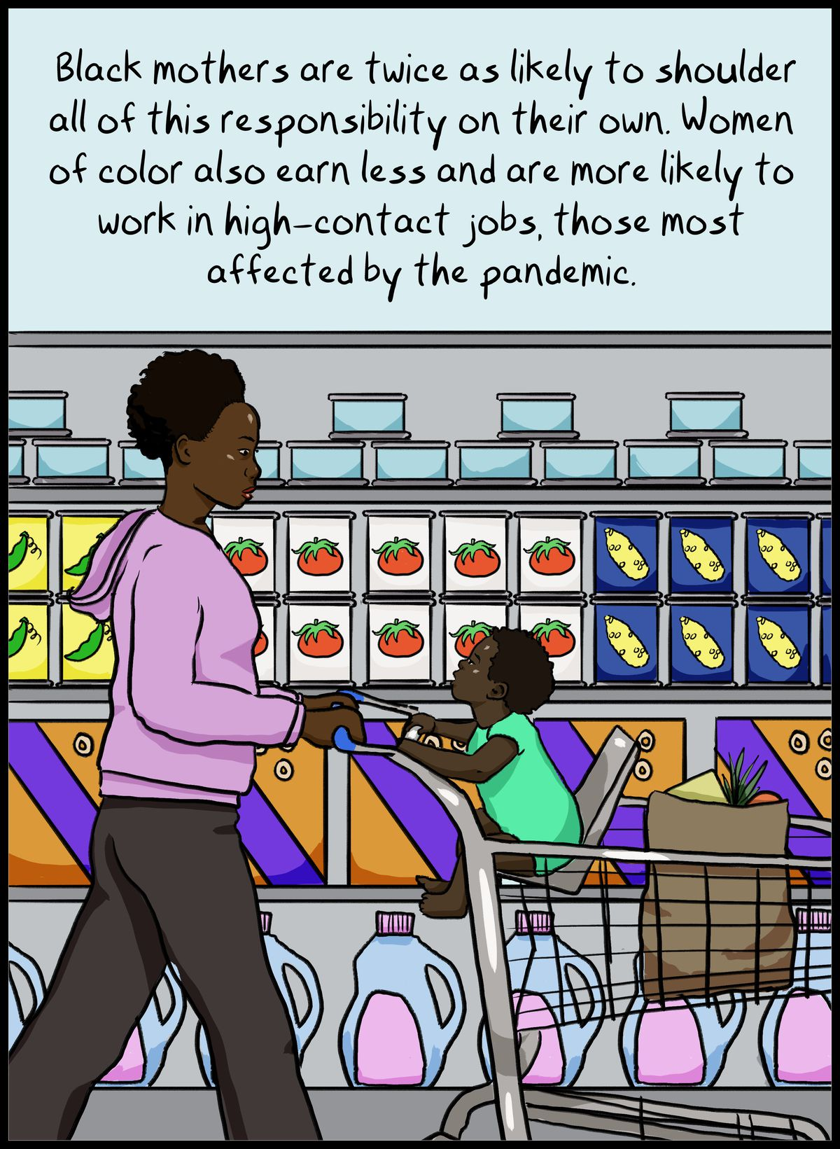 Black mothers are twice as likely to shoulder all of this responsibility on their own: Women of color also earn less and are more likely to work in high-contact jobs, those most affected by the pandemic.
