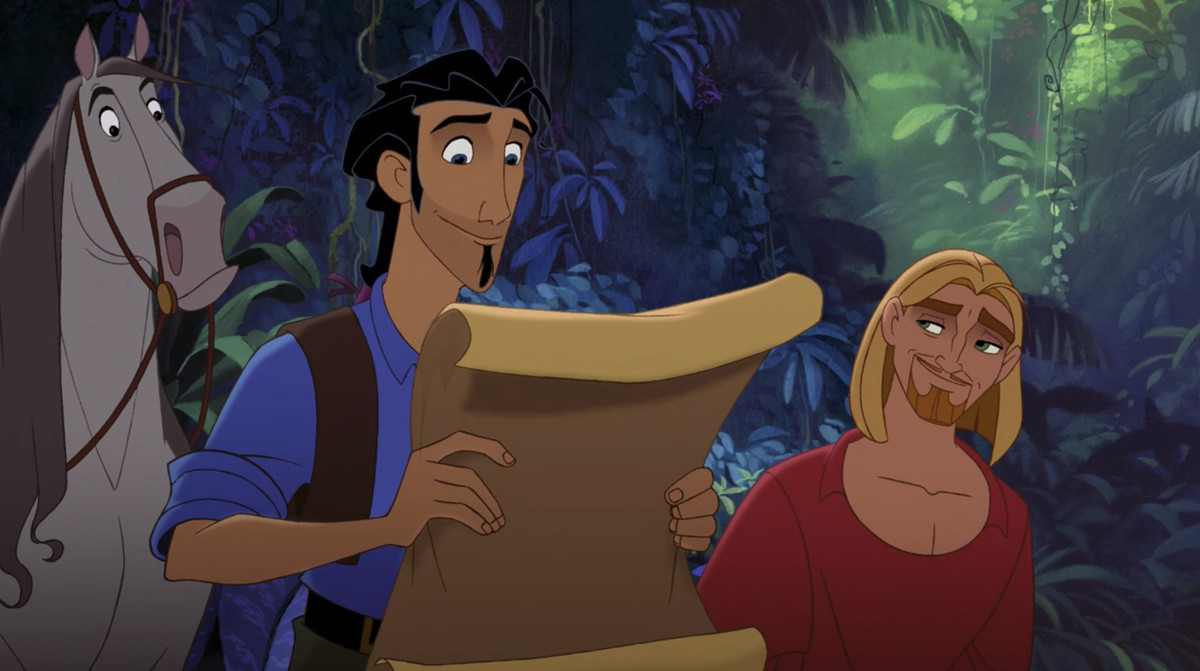 tulio and miguel searching for el dorado, tulio looks at a map, miguel looks adoringly at him