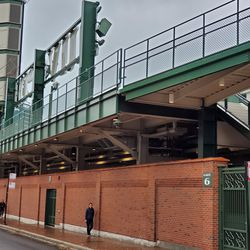 The left field bleachers and video board