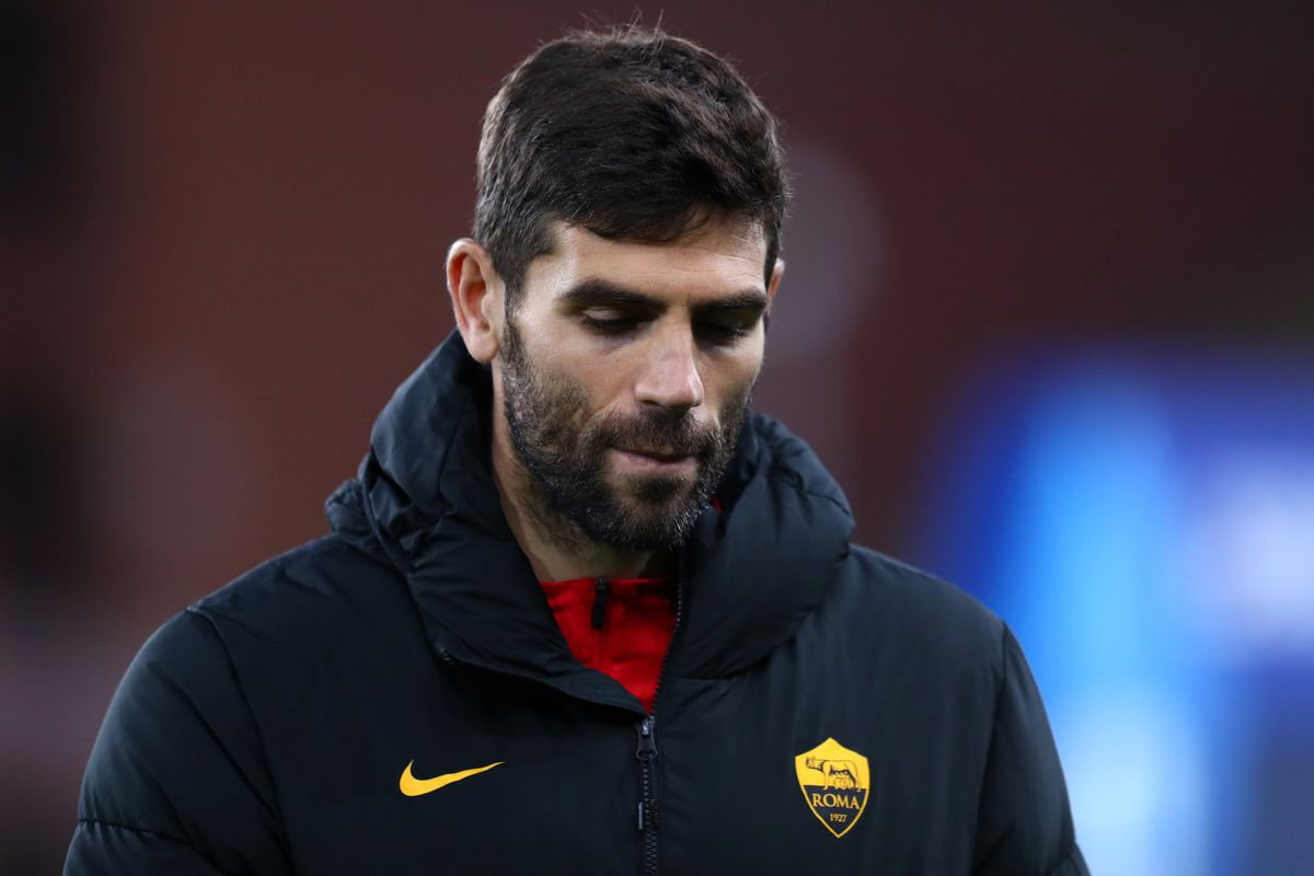 Federico Fazio of As Roma looks on before the Serie A match...