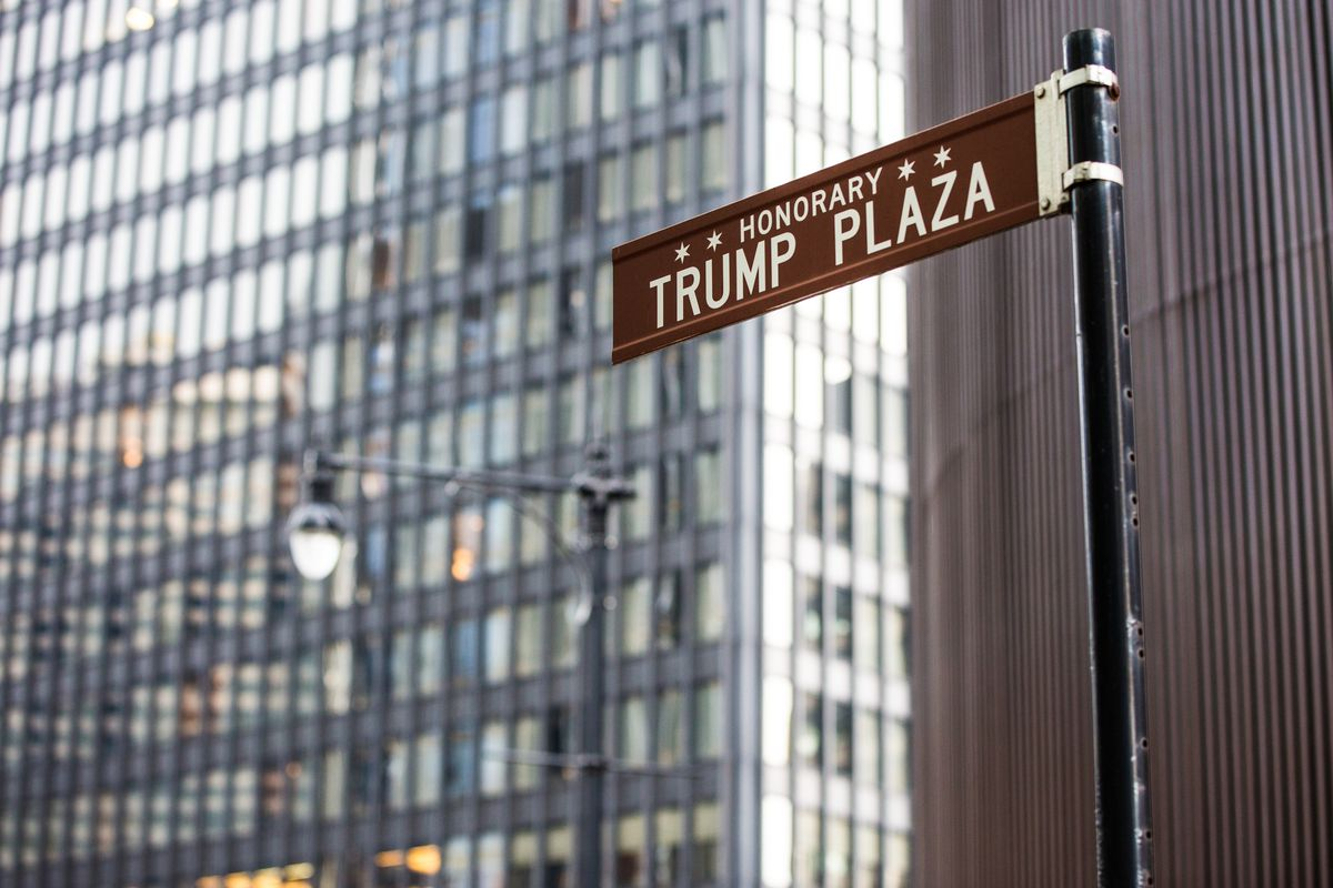 An honorary Trump Plaza street sign became a flashpoint for protests against Donald Trump last year, and the Chicago City Council voted to remove the signs on Wabash Street. Proposed changes in the honorary street sign ordinance would end the practice of