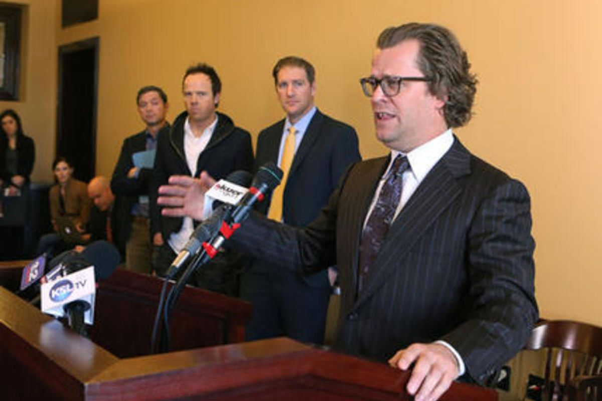 Josh James, founder and CEO of Domo, and others announce their support for HB251, which would legislate the use of noncompete employment contracts in Utah, at the Capitol in Salt Lake City on Friday, March 4, 2016.