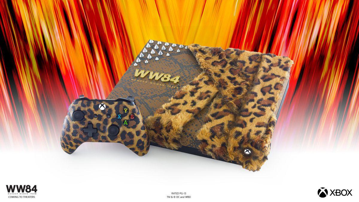 a xbox with a LEOPARD PRINT fur coat