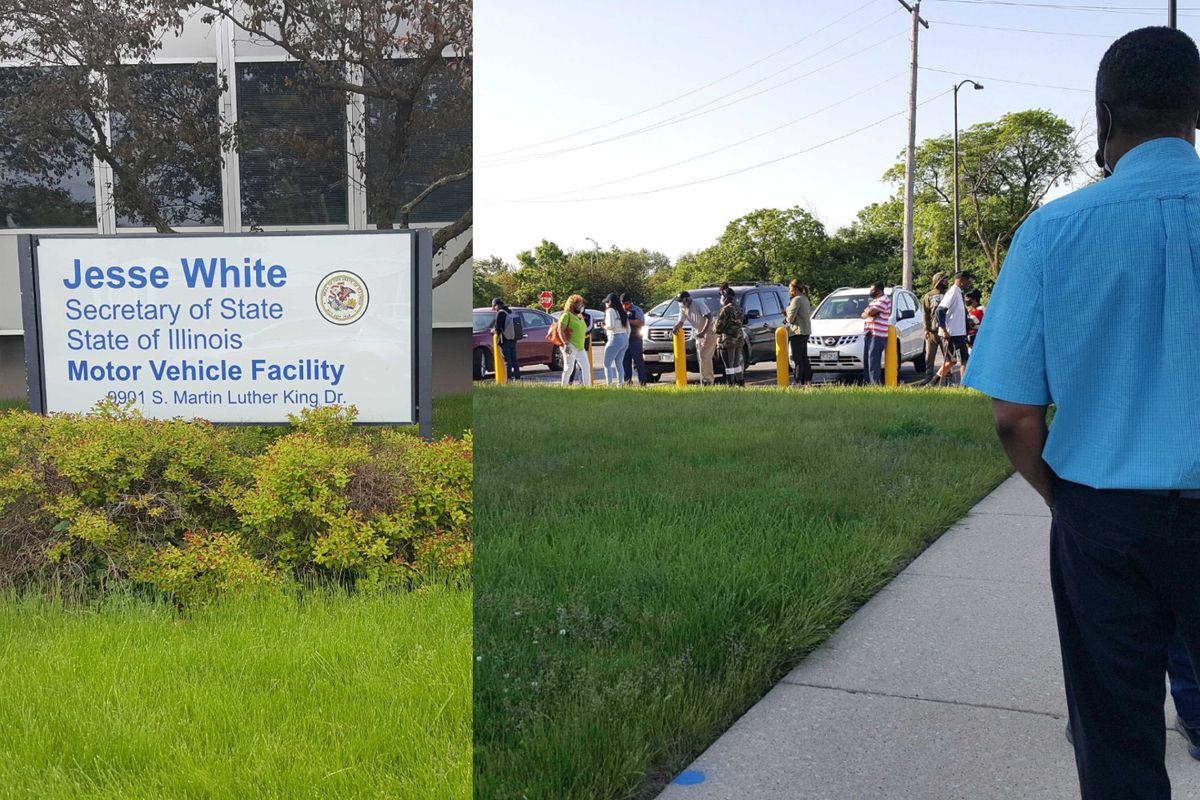 Customers wait outside a South Side driver's license facility June 2, 2020.