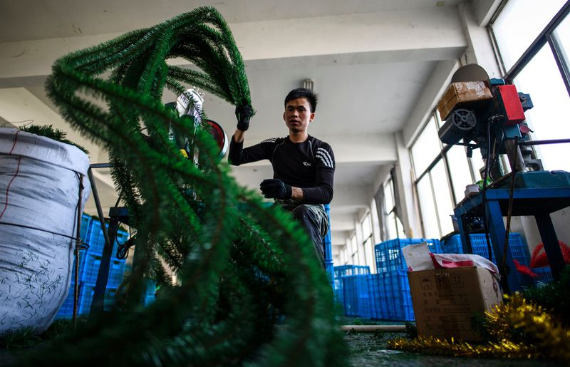 Parts of an artificial Christmas tree at a Chinese factory.