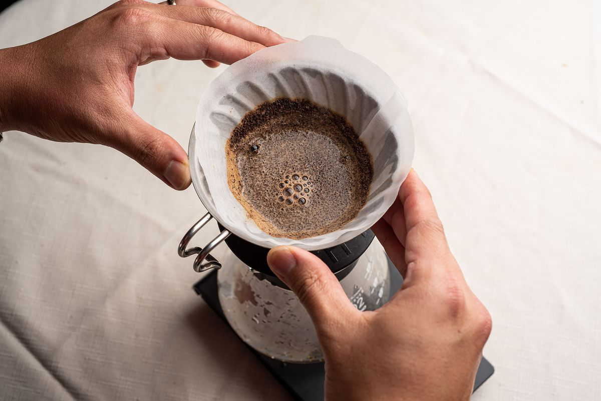 Two hands hover over a Hario V60 filled with a filter and coffee grounds, seen from above.