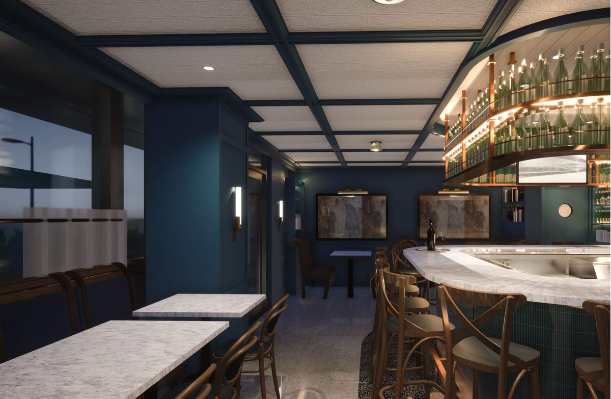 A rendering of Barca wine bar