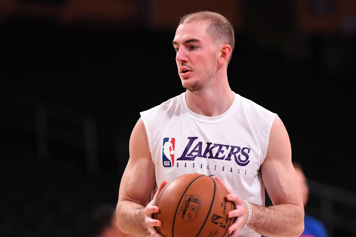 Los Angeles Lakers guard Alex Caruso warms up for the game against the Detroit Pistons at Staples Center.