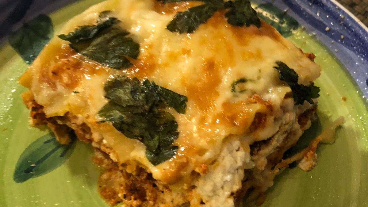 Lasagna (with soy meat) cooked by Rummana Hussain is based on a Sears recipe and her mom's improvisation.