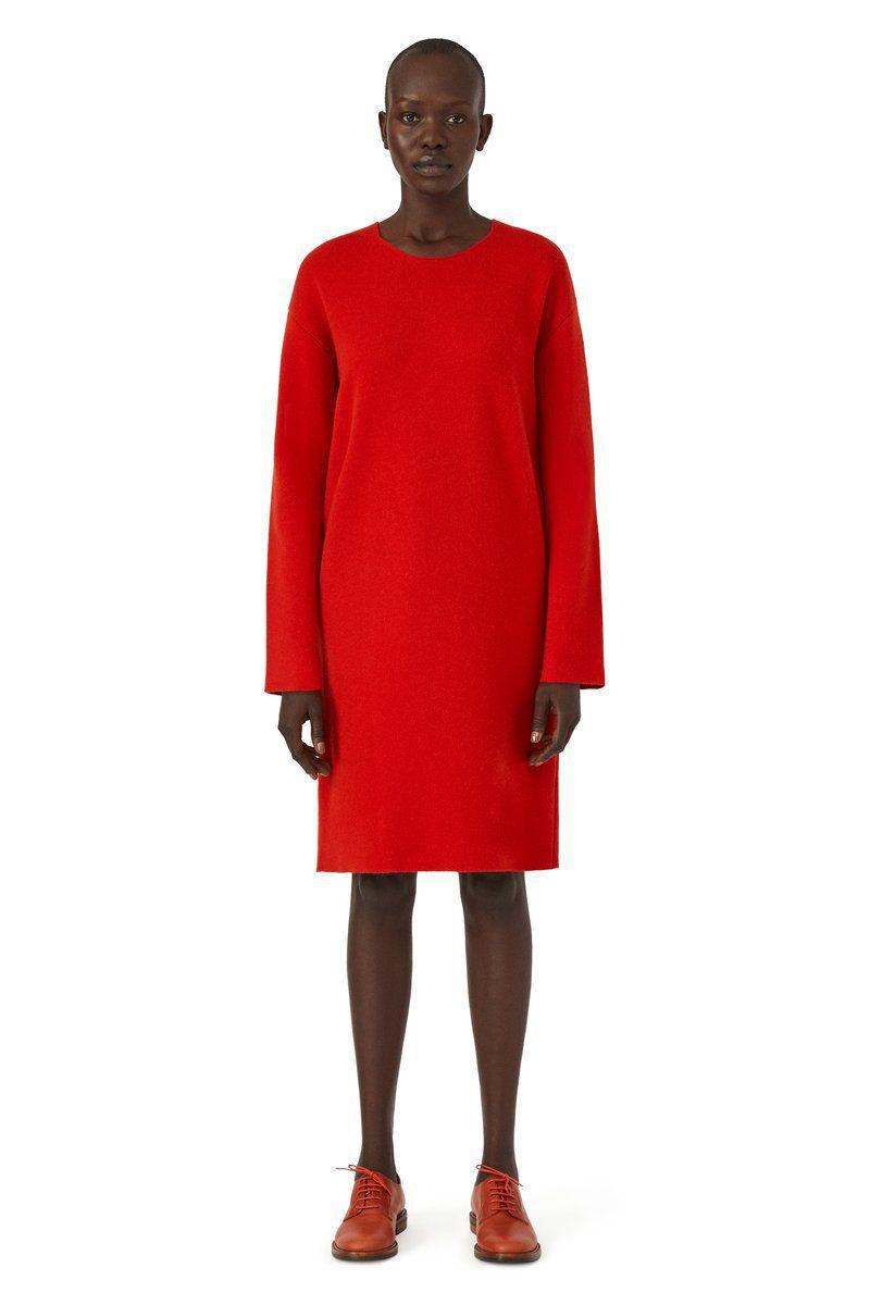 A model in a red dress