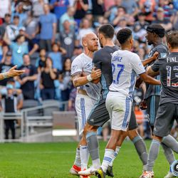 July 3, 2019 - Saint Paul, Minnesota, United States - San Jose midfielder Magnus Eriksson (7) and Minnesota United defender Michael Boxall (15) get into an argument during the match at Allianz Field.