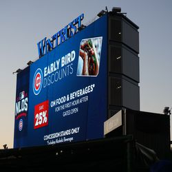 The Early Bird Discount offer being displayed on the left field video board, 13 minutes after the discount has ended