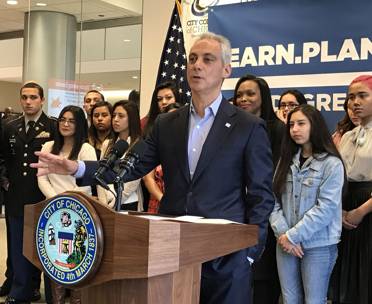 """Mayor Rahm Emanuel was a Malcolm X College Wednesday to tout a new graduation requirement for CPS students — they now must have a """"plan for post-secondary success."""" 