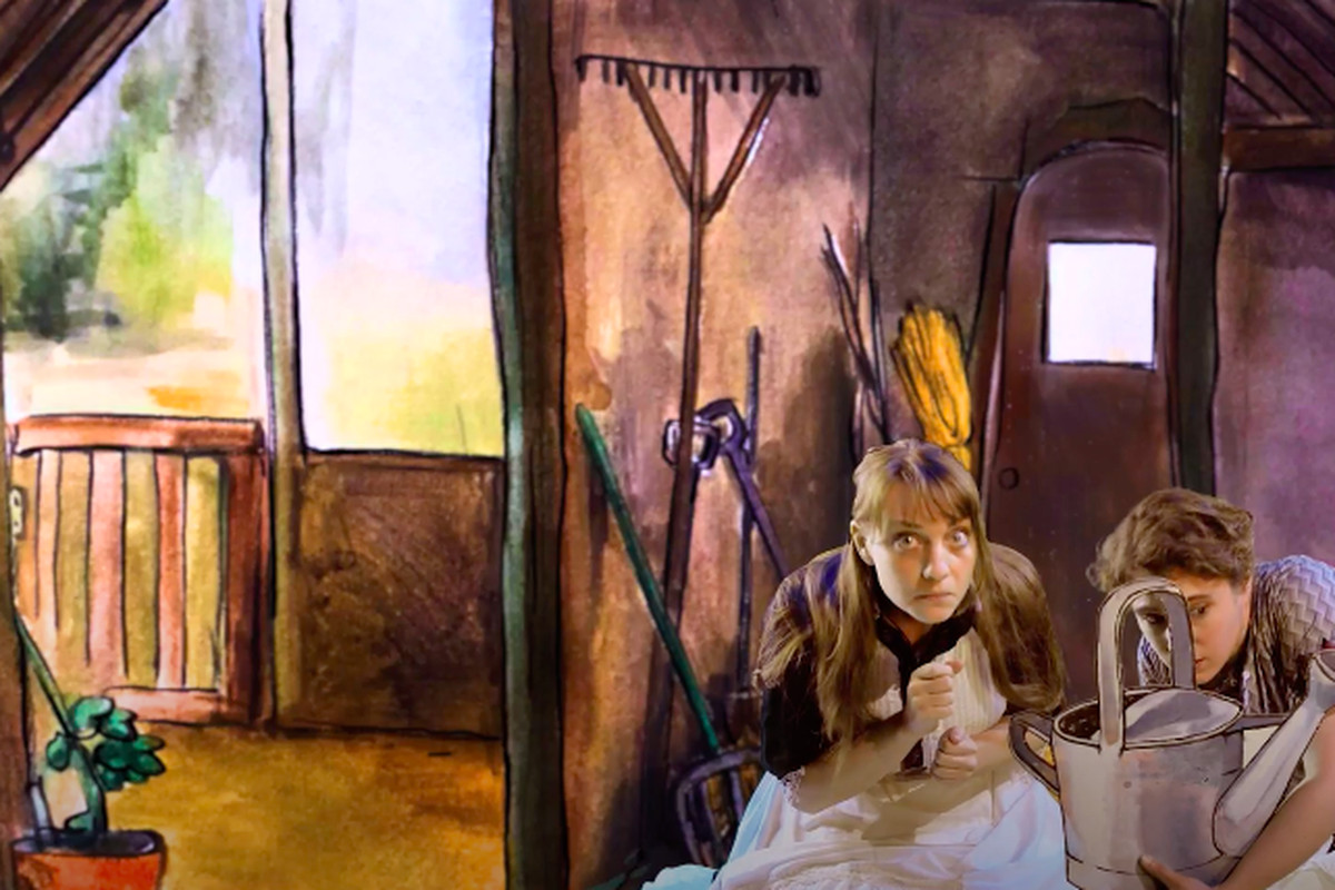 """Kay Kron and Lara Carling are shown in the Chicago Children's Theatre's drive-in production of """"Beatrix Potter and Friends."""""""