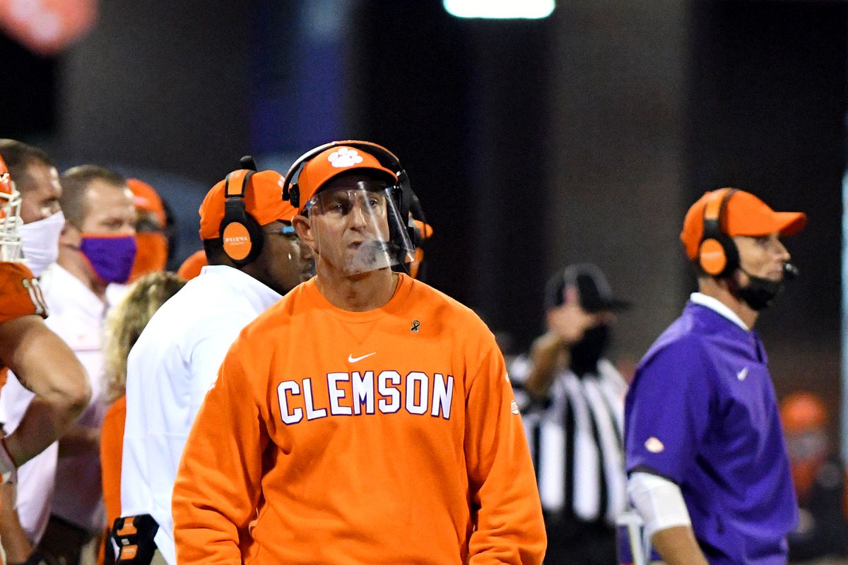 Clemson Tigers head coach Dabo Swinney walks down the sideline during the game between the Clemson Tigers and the Virginia Cavaliers on October 03, 2020 at Memorial Stadium in Clemson, South Carolina.