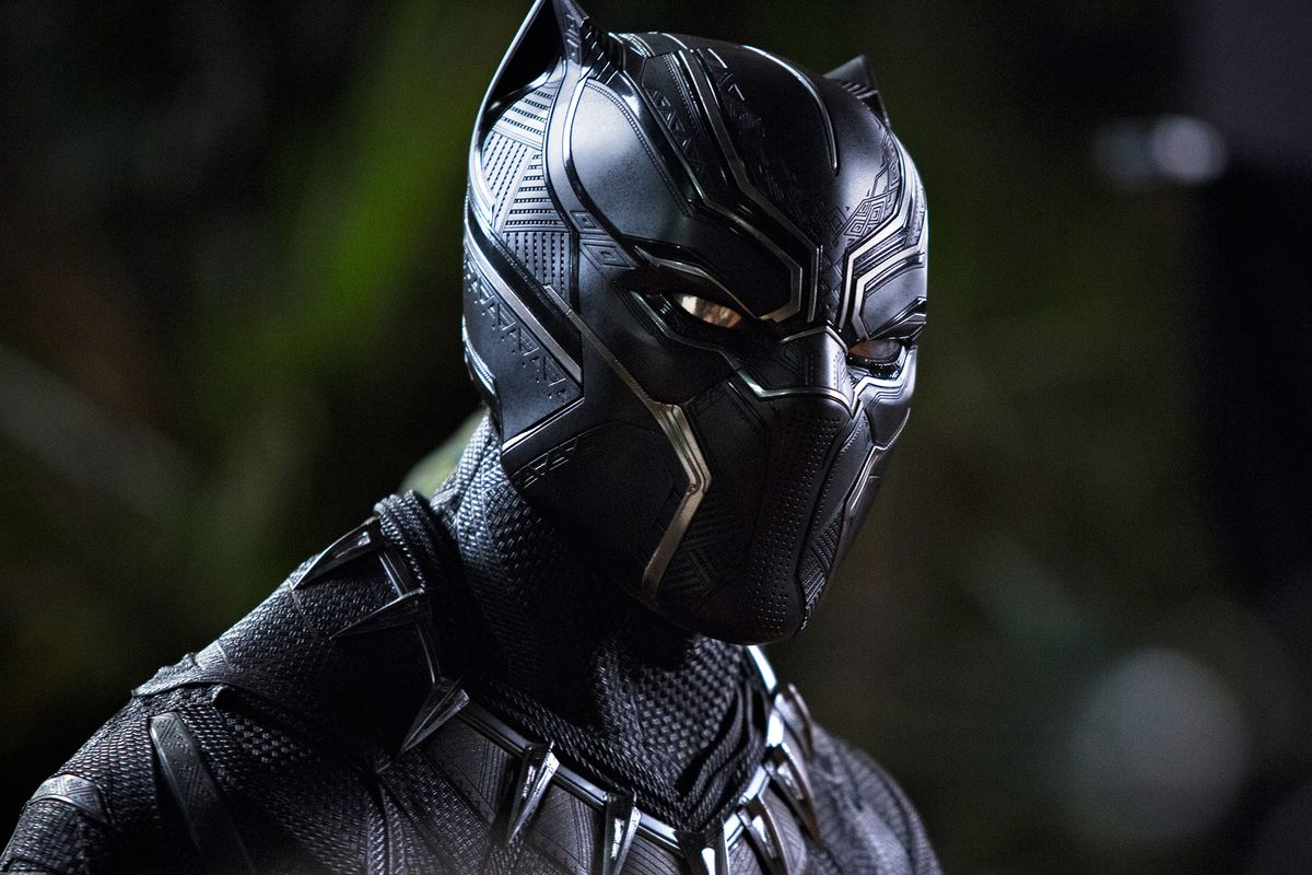 Black Panther - close-up of Black Panther in costume