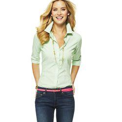 "<a href=""http://www.cwonder.com/striped-cotton-perfect-shirt-25.html"">Striped Cotton Perfect Shirt</a> in Sour Apple, $68"