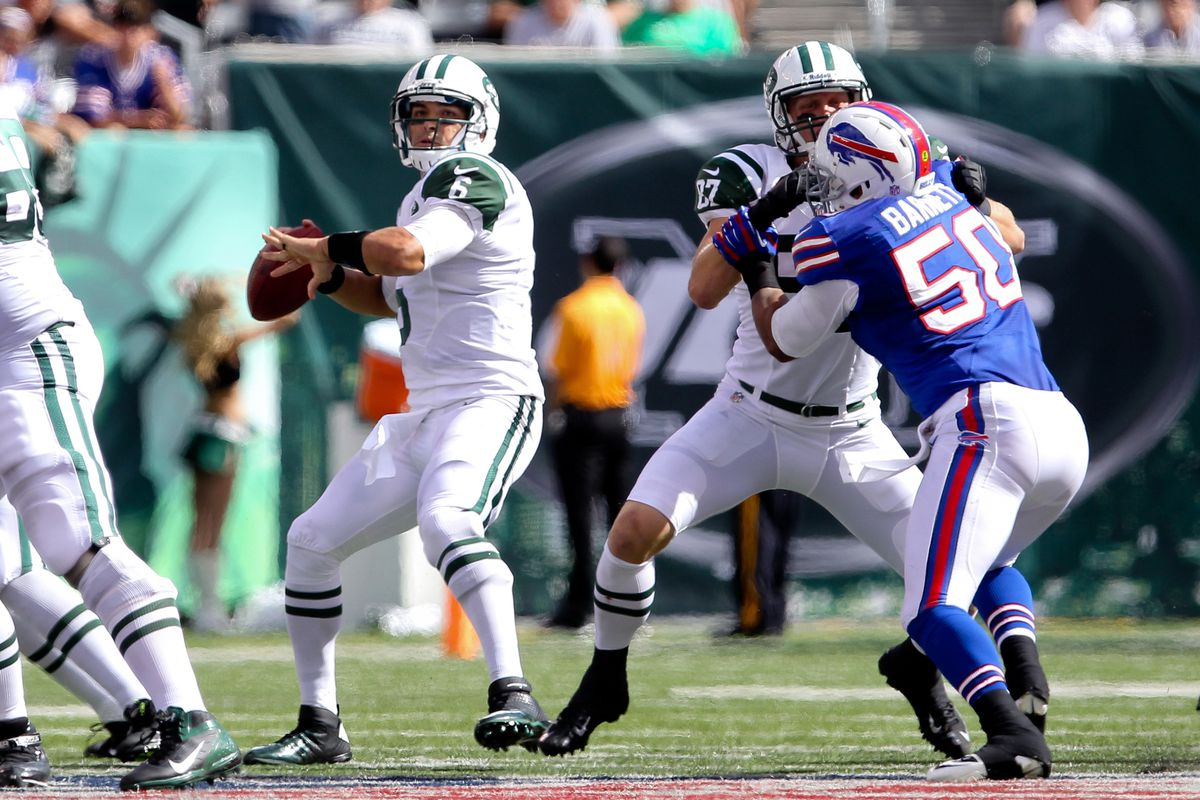 Sept 9, 2012; East Rutherford, NJ, USA; New York Jets quarterback Mark Sanchez (6) throws a pass during the second half at MetLIfe Stadium. Ed Mulholland-US PRESSWIRE