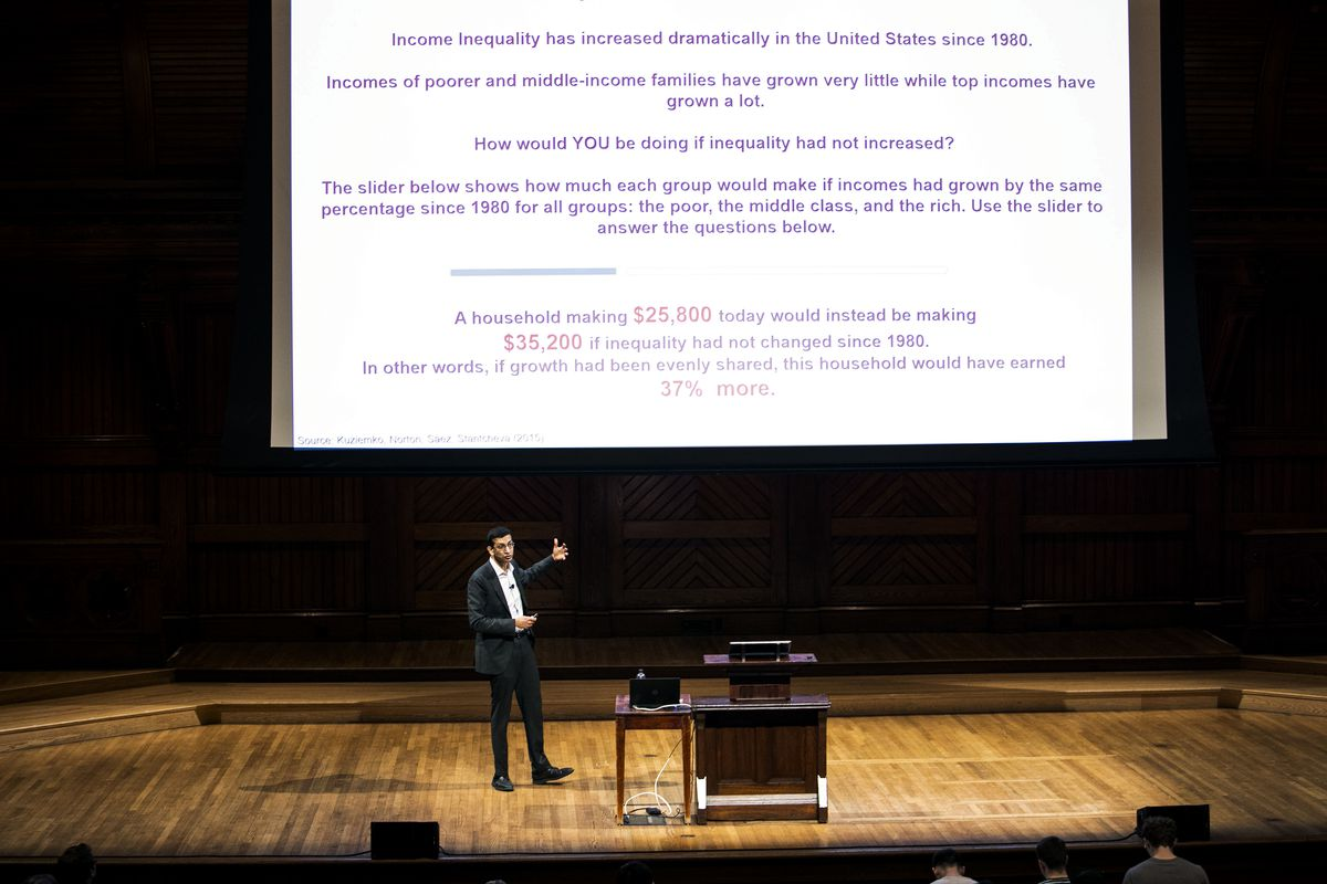 Economics professor Raj Chetty during a lecture for his Economics 115 class, on April 23, 2019.