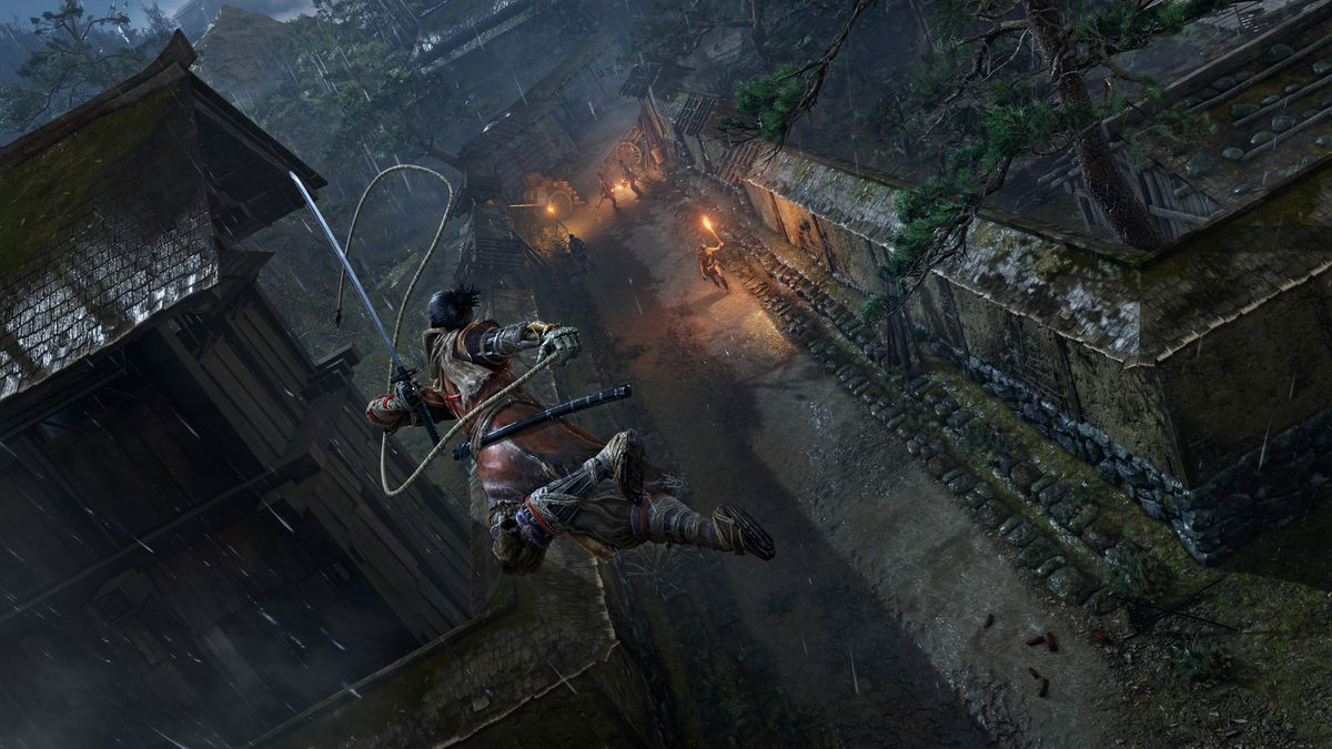 Sekiro: Shadows Die Twice - swinging on a rope