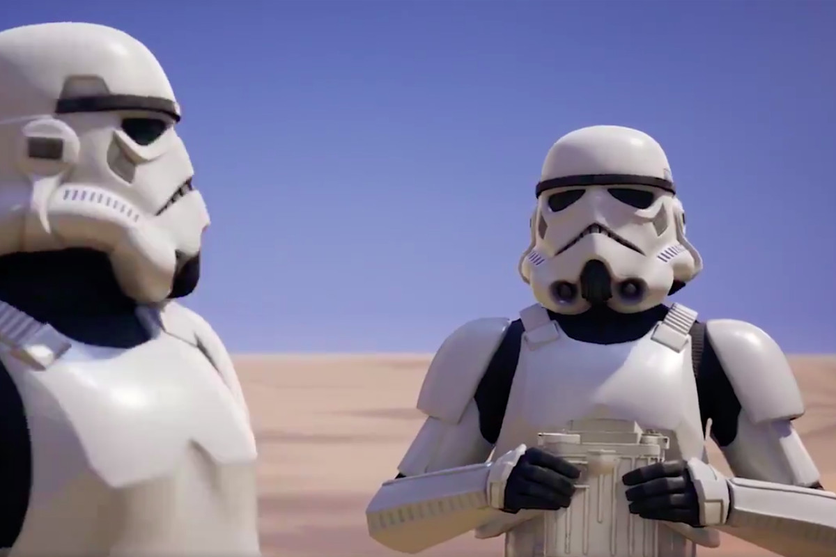 two stormtroopers look at each other
