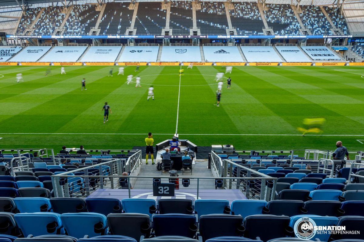 August 21, 2020 - Saint Paul, Minnesota, United States - Minnesota United hosted Sporting KC in a stadium devoid of fans at Allianz Field.