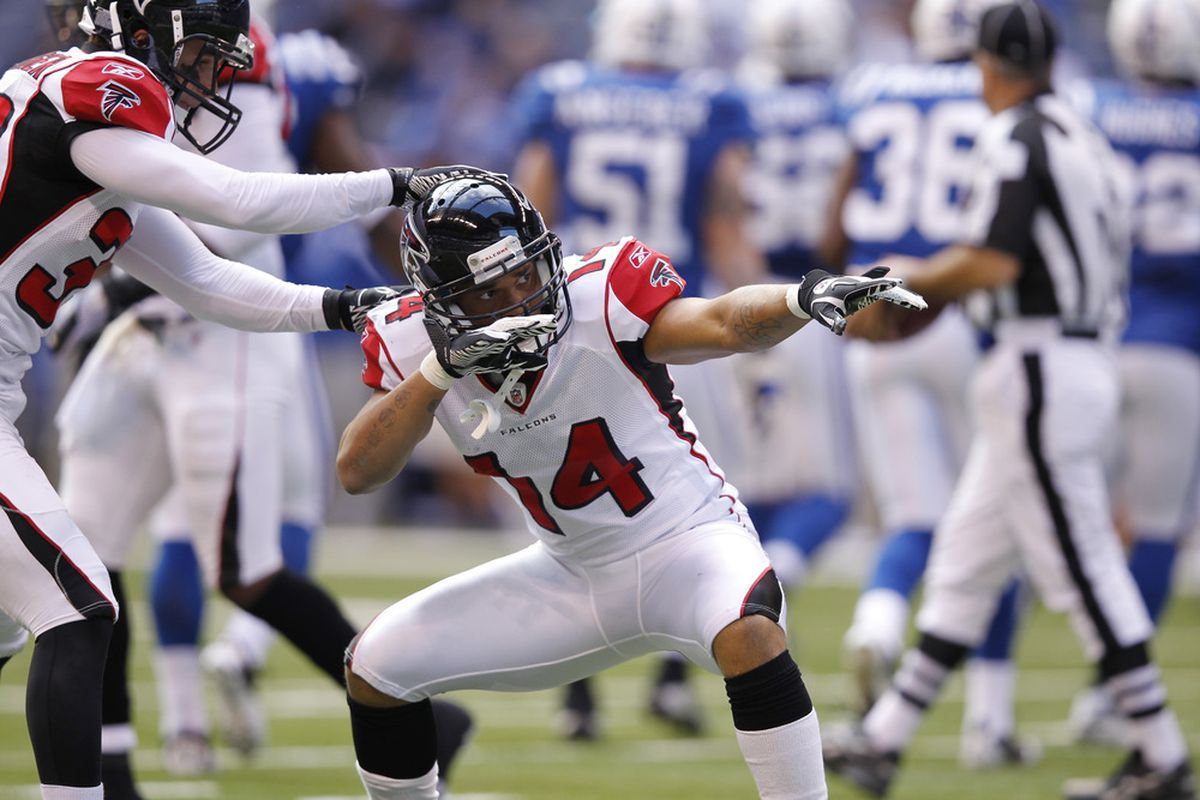 Former Falcon Eric Weems #14 was brought in for his ability on special teams.