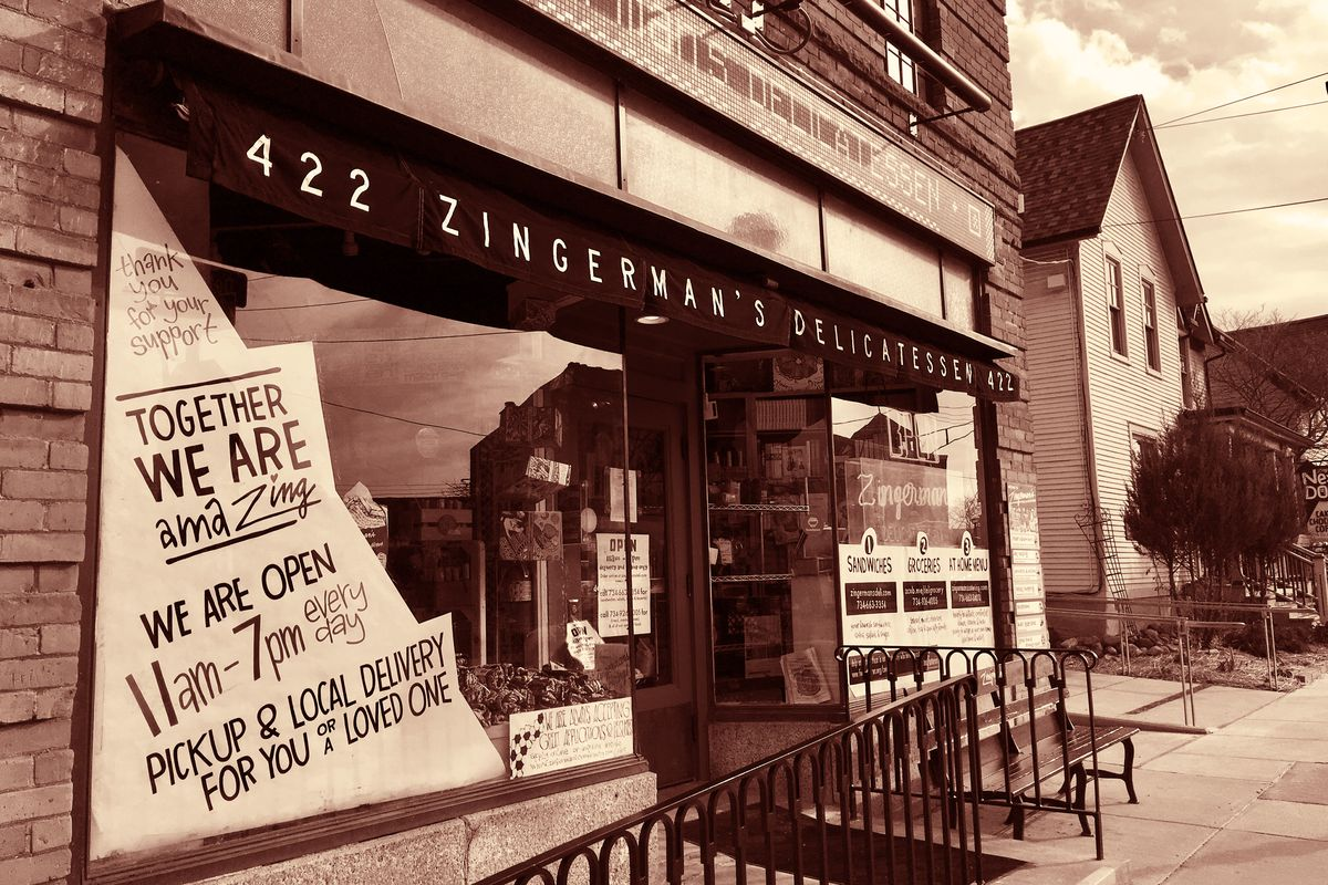 The storefront of Zingerman's Delicatessen, a food business in Ann Arbor, Michigan