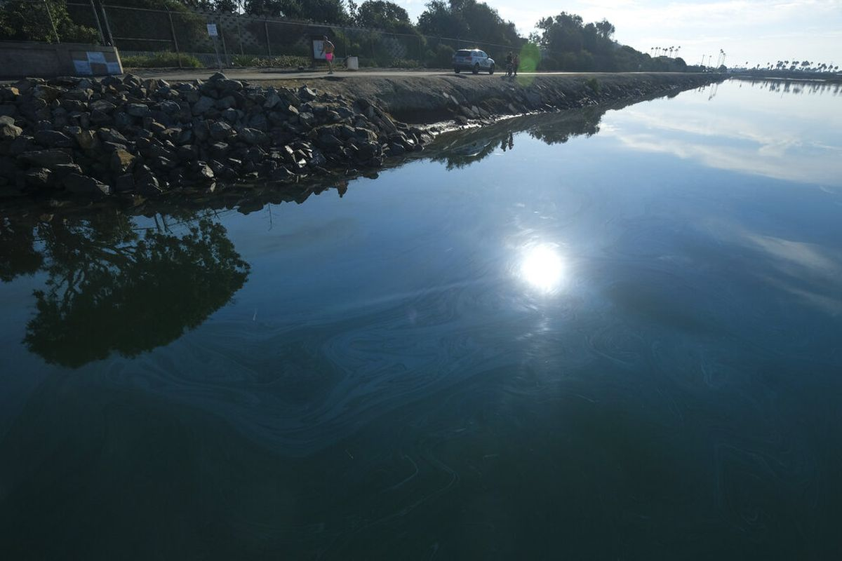 Oil crude incursion in Huntington Beach, California.