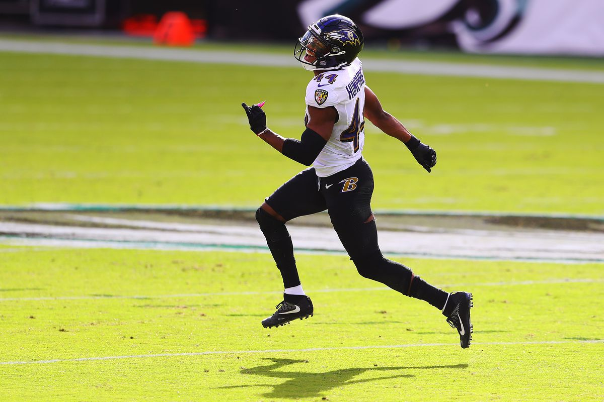 Marlon Humphrey #44 of the Baltimore Ravens reacts after stopping the Philadelphia Eagles short on fourth down during the second quarter at Lincoln Financial Field on October 18, 2020 in Philadelphia, Pennsylvania.