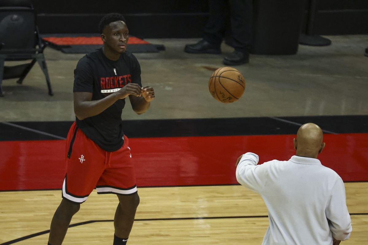 Houston Rockets guard Victor Oladipo practices before a game against the Charlotte Hornets at Toyota Center.