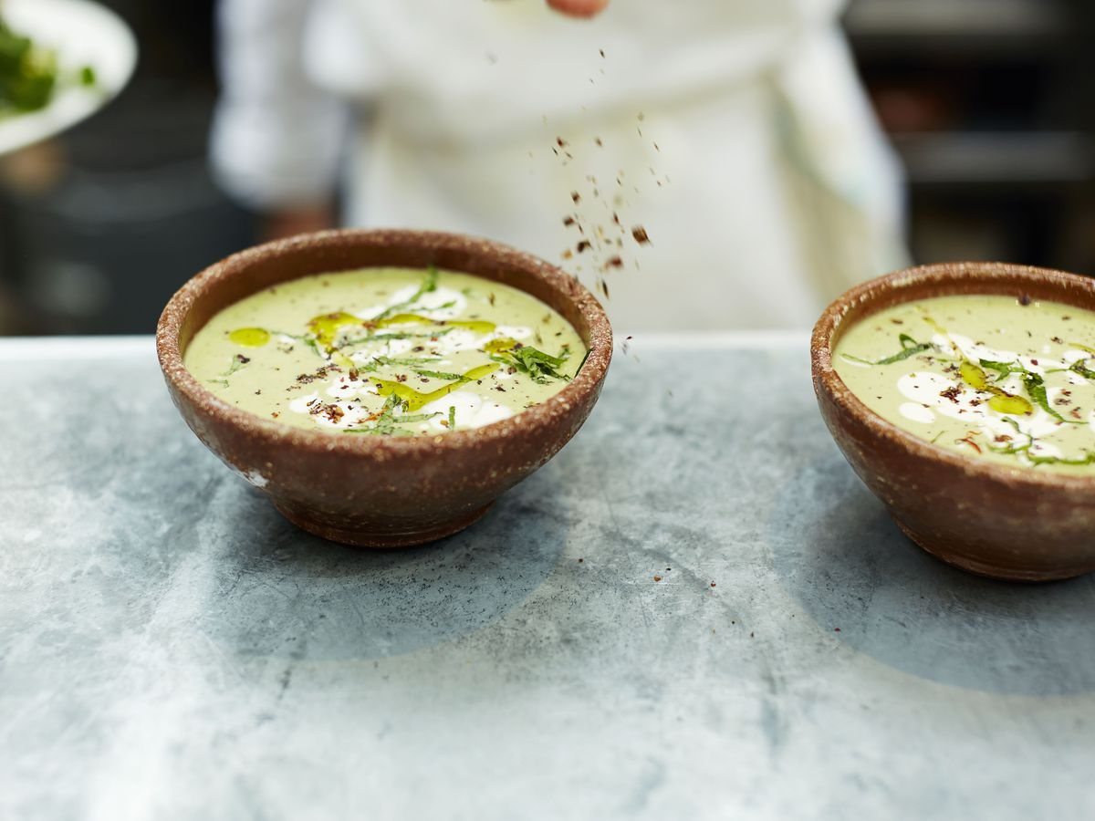 green soup at Moro, a classic London restaurant