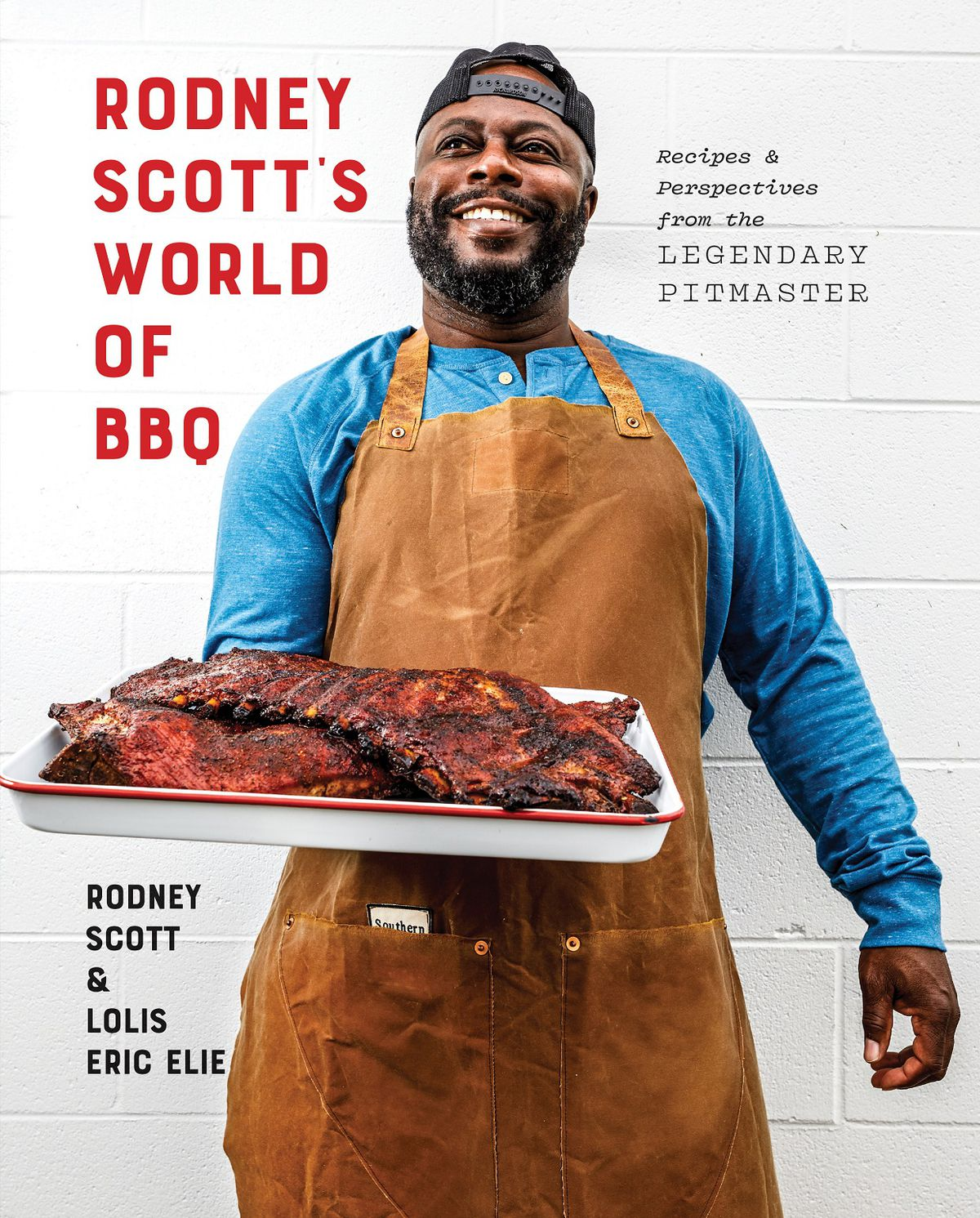 A book cover with a man holding out a tray of barbecue